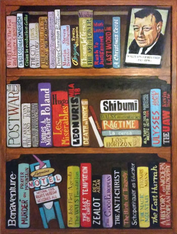 Bookshelf Mural by artist Patricia Croft of Arts and Crofts.